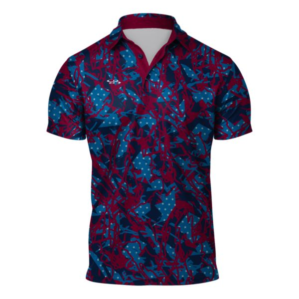 Men's USA Slash Semi-Fitted Polo Sangria/Azure/Navy