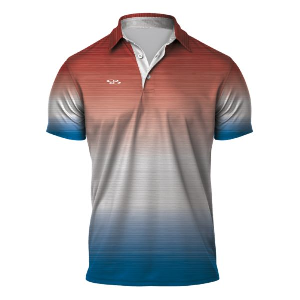 Men's Gamer Semi-Fitted Polo Red/White/Azure