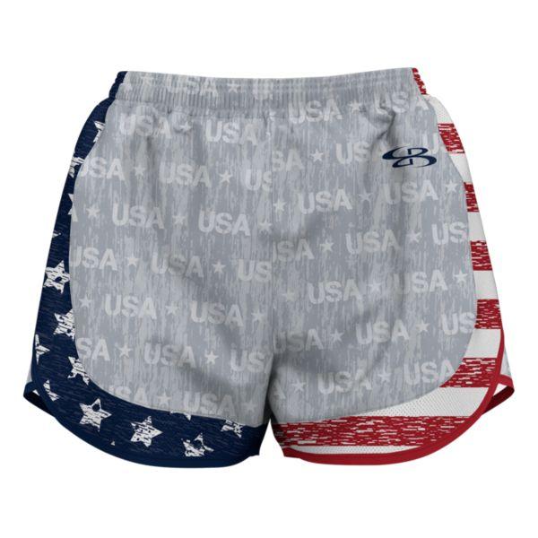 Women's USA Salute Aspire Shorts Gray/Navy/Red