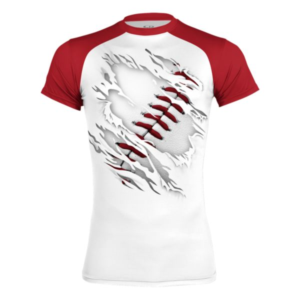 Men's Baseball Classic Ultra Performance Compression S/S Shirt Red/White