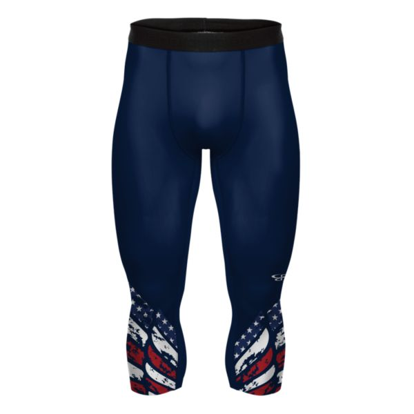 Men's USA Pride 3/4 Tight Navy/Red/White