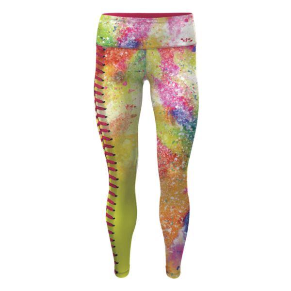 Girl's Softball Splatter Legging Multicolor