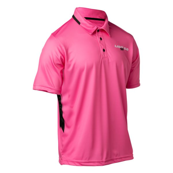 Men's INK USSSA Breast Cancer Awareness Official's Polo Pink/Black/White