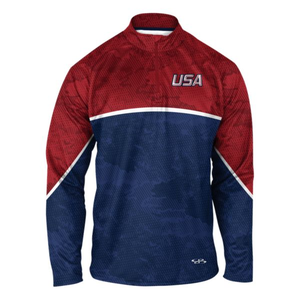 Men's USA Blade Verge Quarterzip Red/Royal Blue/White