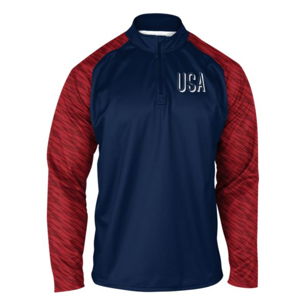 Youth USA Charger Verge Quarterzip Navy/Red/White
