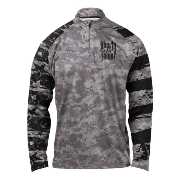 Liberty and Honor USA Ink Premier Quarter Zip Pullover Black/Steel