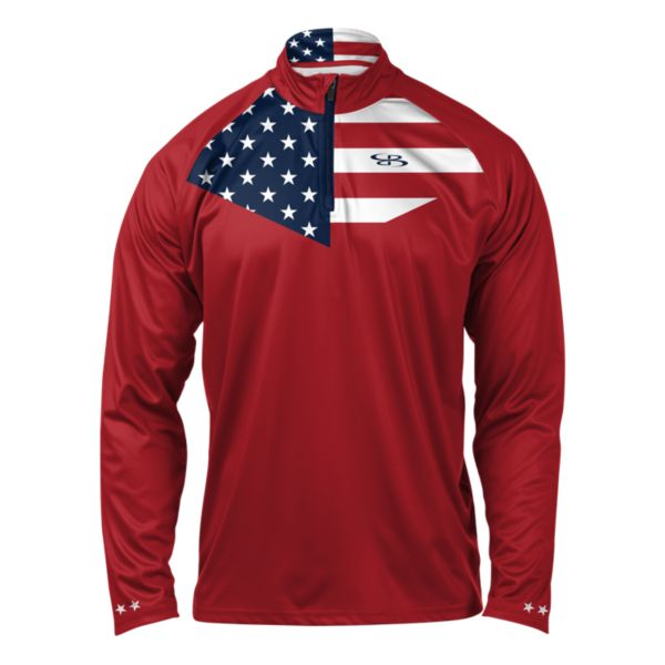 Men's USA Pride Premier Quarter Zip Red/Navy/White