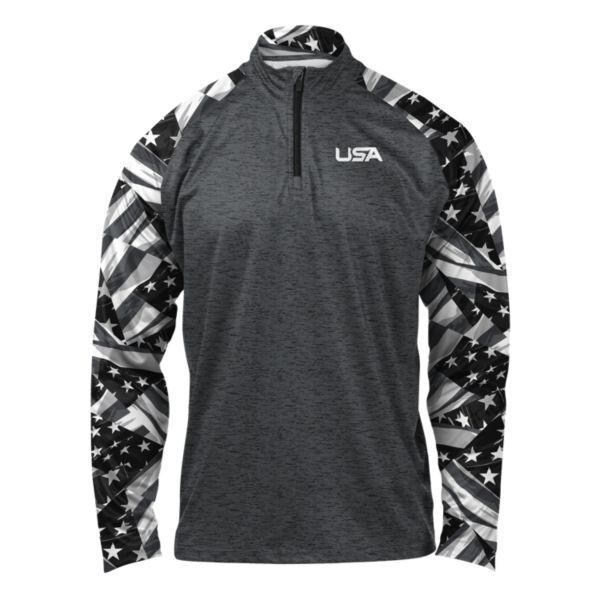 Men's USA Triumph Premier Quarter Zip Charcoal/Black/White