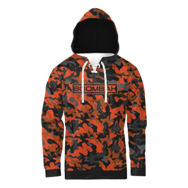 Boombah INK Men's Homerun Camo Lace Up Hoodie Black/Orange/Texas Orange