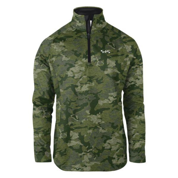 Men's Camo Fleece Quarter Zip Pullover Olive Drab/Forest Green/Black