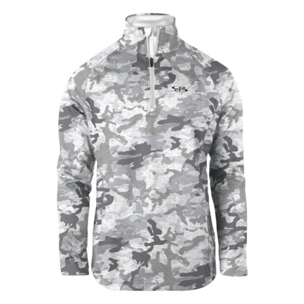 Youth Camo Fleece Quarter Zip Pullover White/Charcoal