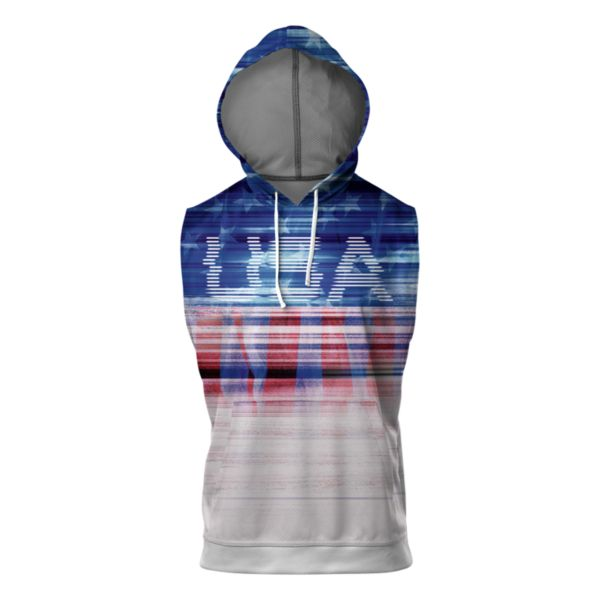 Men's USA Tech Verge Sleeveless Hoodie White/Royal/Red