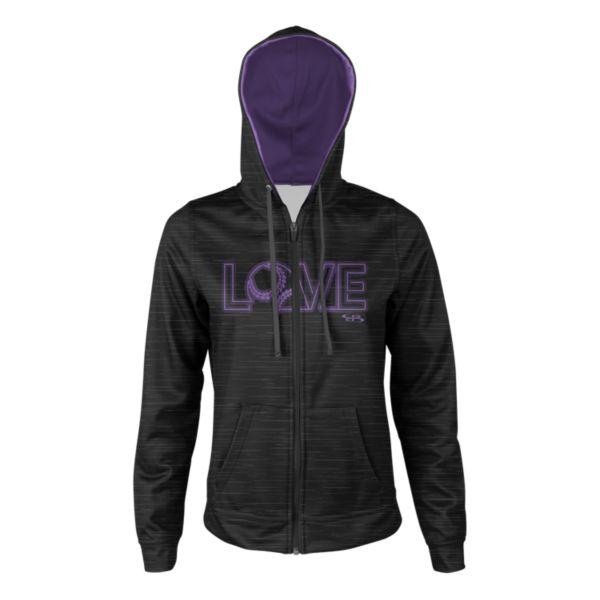 Girl's Softball Love Full Zip Fleece Hoodie Black/Amethyst Orchid