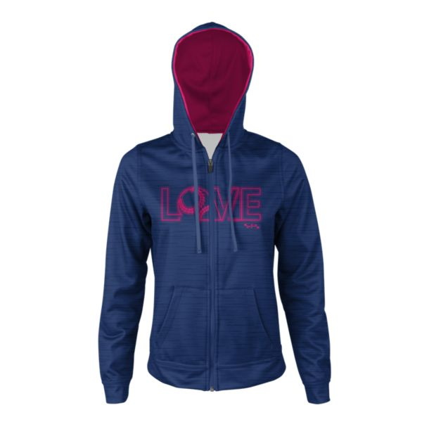 Girl's Softball Love Full Zip Fleece Hoodie Royal/Magenta
