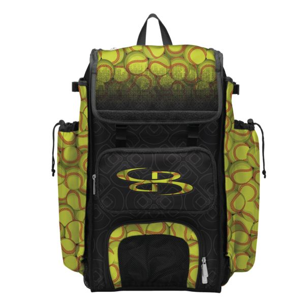 Catcher's Superpack Bat Bag Softball Black/Optic Yellow/Red
