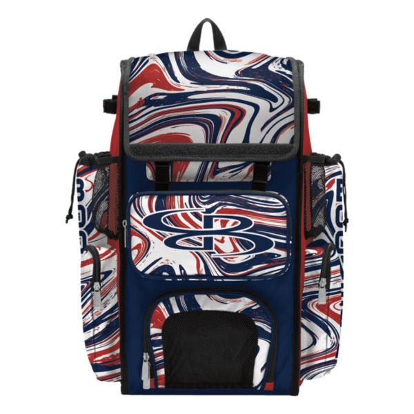 Superpack Marbleized Bat Bag 2.0 Navy/Red/White