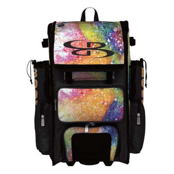 Superpack Hybrid Rainbow Splatter Rolling Bat Bag