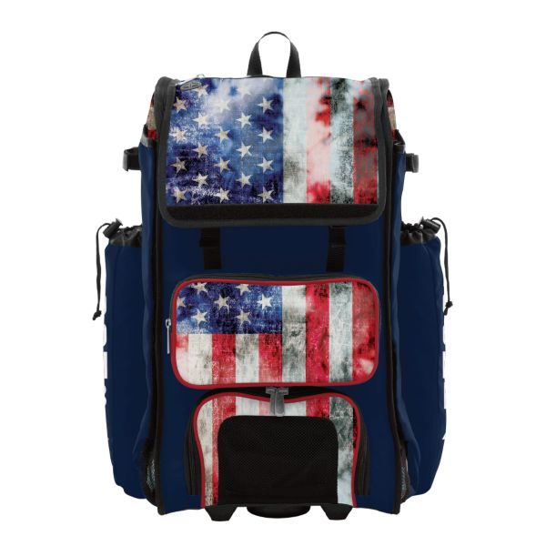 Rolling Catcher's Superpack Bat Bag Old Glory Navy/Red/White