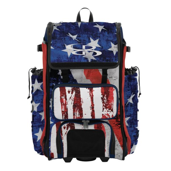 Rolling Catcher's Superpack Bat Bag USA Stars & Stripes  Navy/Red/White