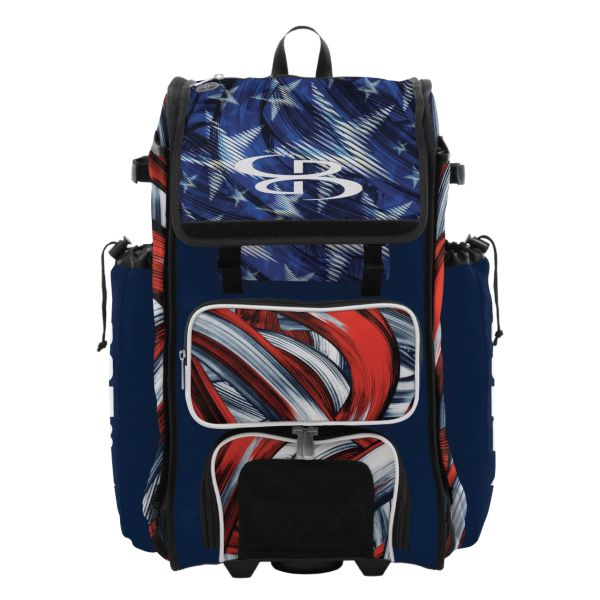 Rolling Catcher's Superpack Bat Bag USA Wave Navy/Red/White