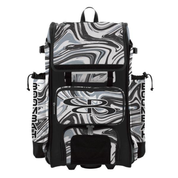 Rolling Catcher's Superpack Bat Bag Marbleized Gray/Black/White