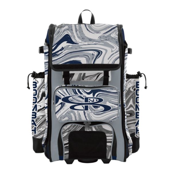 Rolling Catcher's Superpack Bat Bag Marbleized Navy/Gray/White