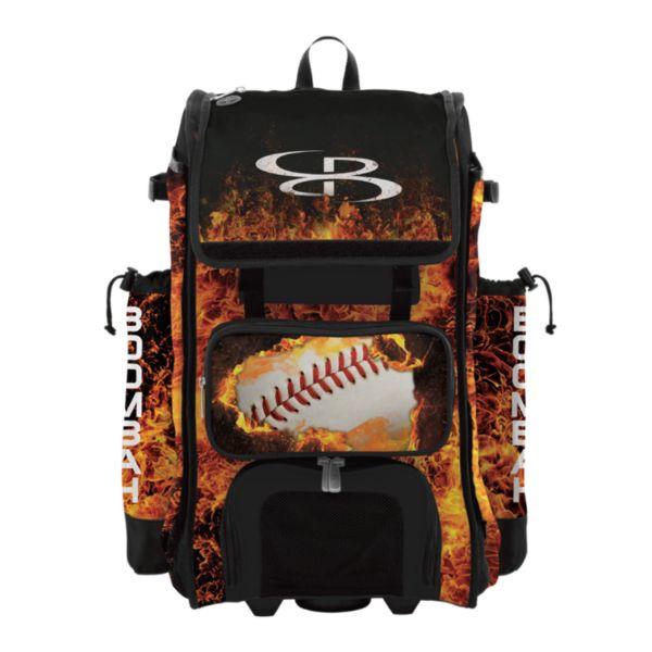 Rolling Catcher's Superpack Bat Bag Fireball Black/Orange/White