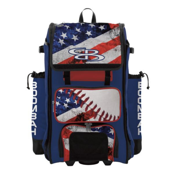 Rolling Catcher's Superpack Bat Bag USA Baseball Royal Blue/Red/White