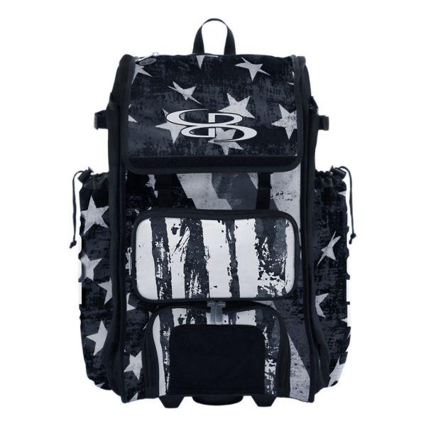 Rolling Catcher's Superpack Bat Bag USA Stars & Stripes Black Ops Black/White