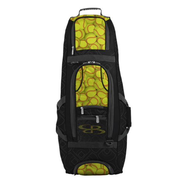 Spartan Rolling Bat Bag 2.0 Softball Black/Optic Yellow/Red