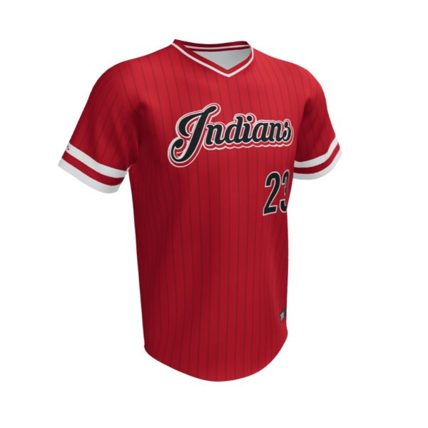 Custom Men's V-Neck Short Sleeve Baseball Jersey