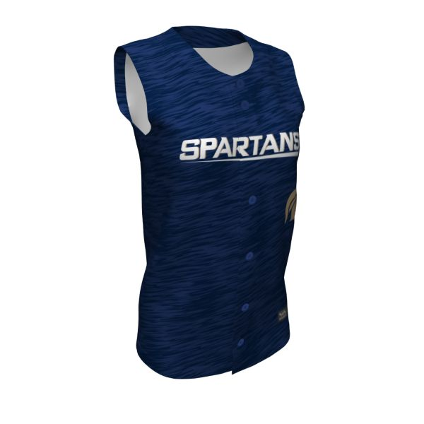 Girls' Custom Full Button Sleeveless Fastpitch Jersey