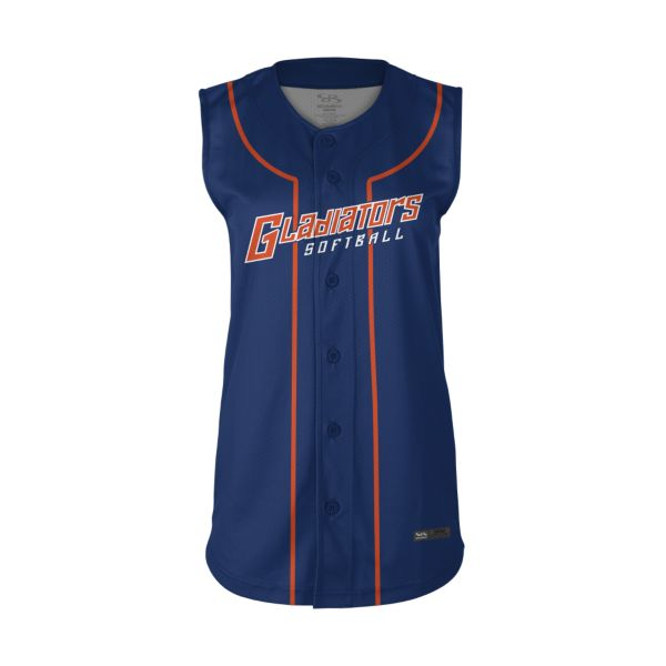 Women's Custom Full Button Sleeveless Fastpitch Jersey