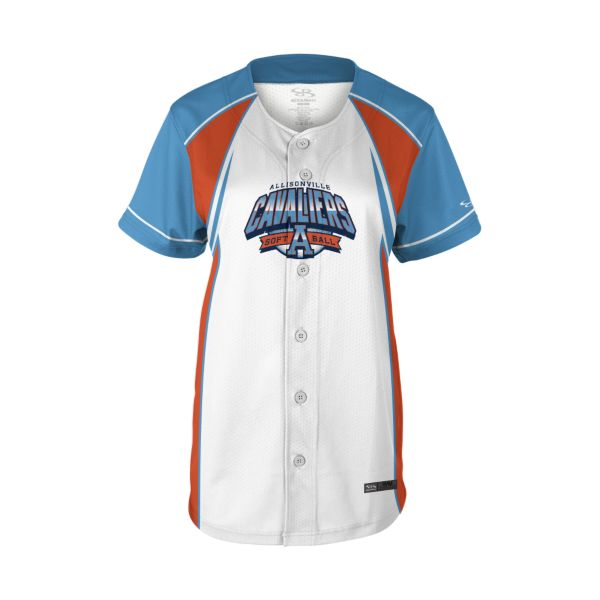 Girls' Custom Full Button Short Sleeve Fastpitch Jersey