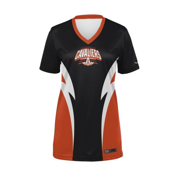 Girls' Custom Semi-Fitted V-Neck Fastpitch T-Shirts