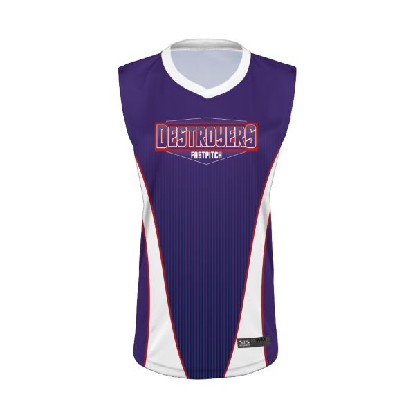 Girls' Custom Semi-Fitted Sleeveless V-Neck Jersey