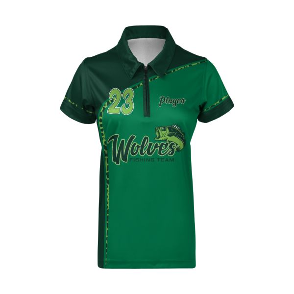 Custom Women's Short Sleeve Polo Zip Fishing Jersey