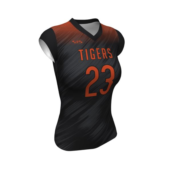 Custom Women's Fitted Cap Sleeve Volleyball Jersey