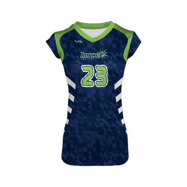 Custom Girls' Fitted Cap Sleeve Volleyball Jersey
