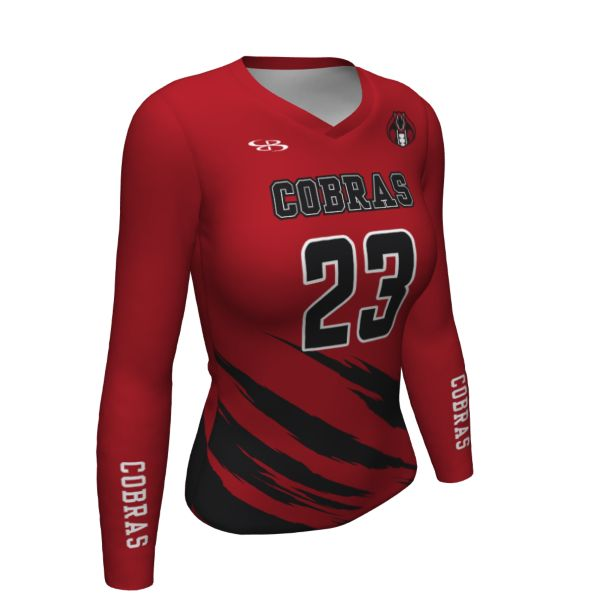 Custom Women's Fitted Long Sleeve Volleyball Jersey
