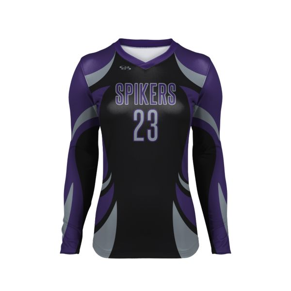 Custom Girls' Fitted Long Sleeve Volleyball Jersey