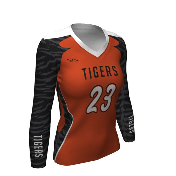 Custom Girls' Semi-Fitted Long Sleeve Volleyball Jersey
