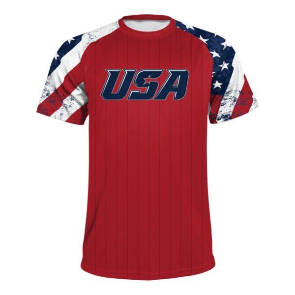 Boombah INK Men's USA Raglan Short Sleeve Shirt 3020 Red/Navy