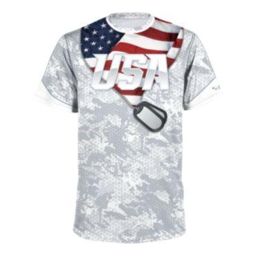 Men's USA Dog Tags Short Sleeve Shirt