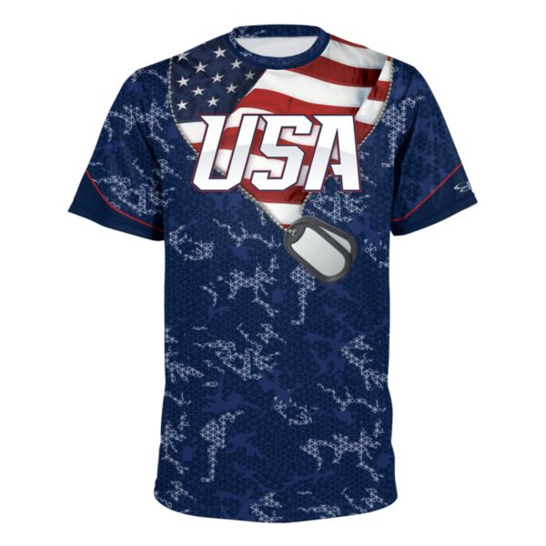 Boombah INK Men's USA Short Sleeve Shirt 3012 Navy/Royal/White