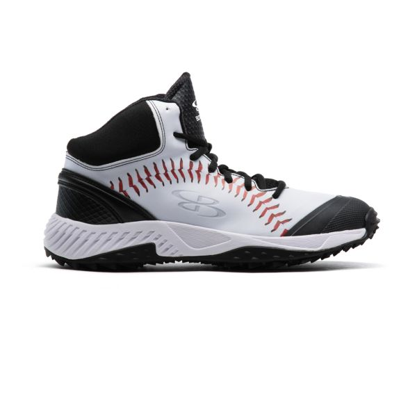 Men's Dart 3007 Stitches Mid Turf Shoes Black/White/Red