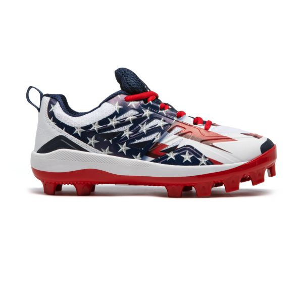 Men's Challenger Flag 4 Low Molded Cleats Navy/White/Red