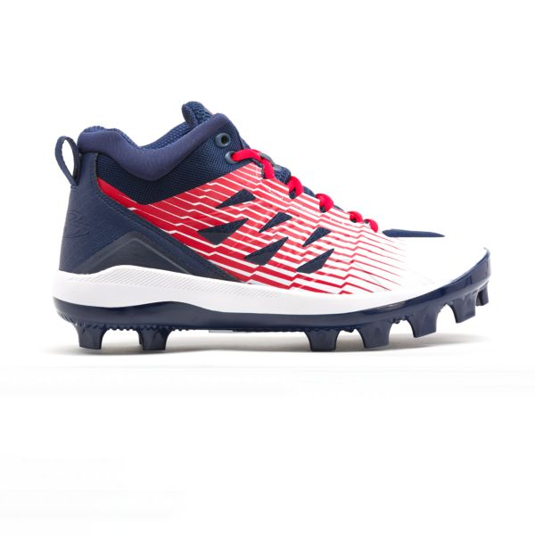 Men's Challenger Mid Molded Cleats Navy/White/Red