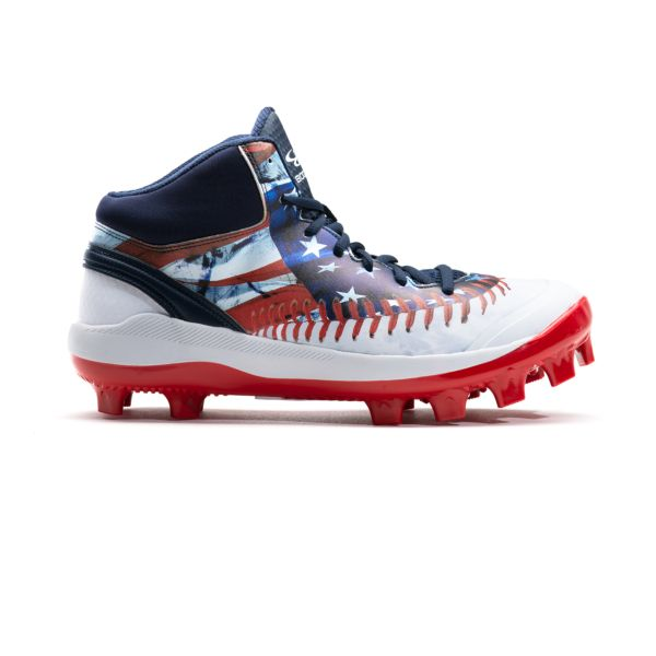 Men's Dart Flag Mid Molded Cleat Navy/White/Red