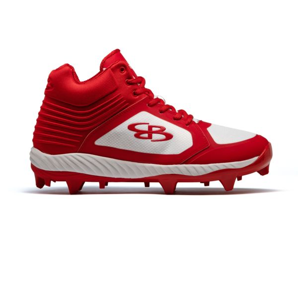 Men's Ballistic Mid Molded Cleat White/Red